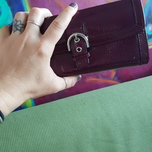 Coach Bags - Coach Eggplant Patent Leather Wallet